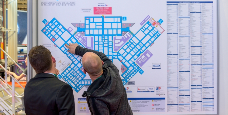 SOLUTRANS visitors looking at the exhibition map